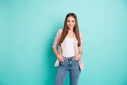 Portrait of her she nice attractive lovely fascinating gorgeous cheerful cheery content straight-haired girl posing isolated over bright vivid shine blue green teal turquoise background