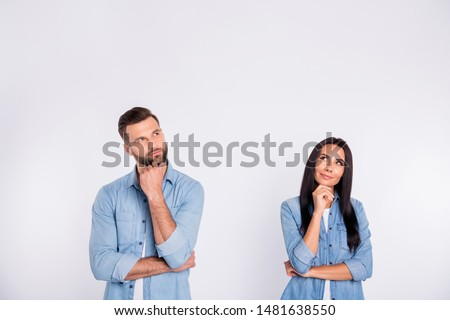Portrait of his he her she nice-looking pretty attractive lovely charming cute cheerful curious persons asking question first date isolated over light white pastel background