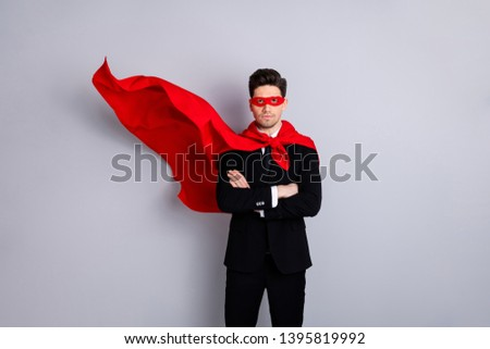 Portrait of his he nice attractive confident strong virile macho incognito guy wearing bright super look outfit mantle accessory best motivation isolated over light gray background