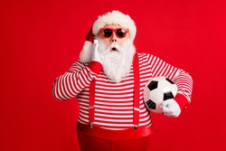 Portrait of his he nice handsome attractive amazed stunned fat overweight Santa grandfather playing football omg wow reaction isolated over bright vivid shine vibrant red color background