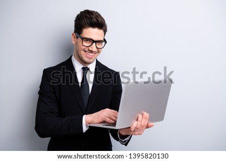 Portrait of his he nice imposing elegant classy attractive cheerful guy holding in hands digital e-commerce vacancy recruiting office startup isolated over light gray background