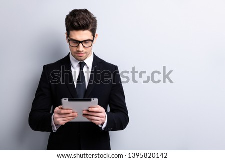 Portrait of his he nice imposing representative elegant classy attractive focused guy law economist auditor boss accountant bookkeeper office start-up  isolated over light gray background