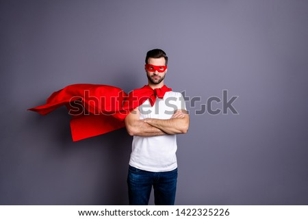 Portrait of his he nice-looking attractive content virile sporty macho bearded guy folded arms isolated over gray pastel violet purple background Foto d'archivio ©