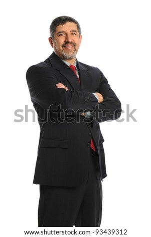 Portrait of Hispanic businessman with arms crossed isolated over white background