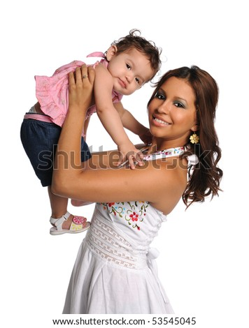 Portrait of Hispanic mother holding daughter isolated over white background