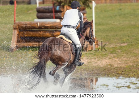 portrait of horse and rider galloping in water during eventing competition