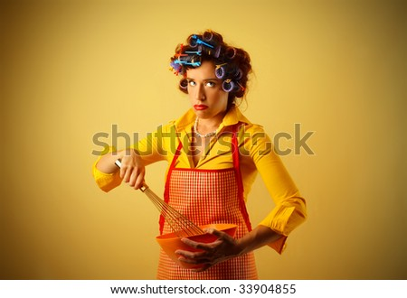 portrait of housewife cooking