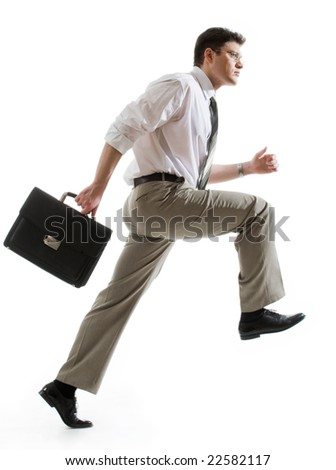 Portrait of hurry manager isolated on a white background - stock photo