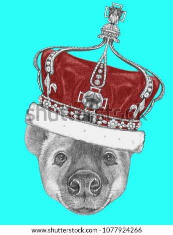 Portrait of Hyena with crown,  hand-drawn illustration