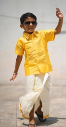 Portrait of indian kid with dhoti ethnic wear