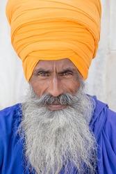 Portrait of Indian sikh man in turban with bushy beard.  Amritsar, India