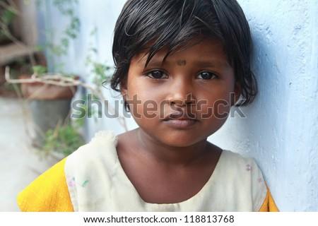 Portrait of Indian Village Poor Girl