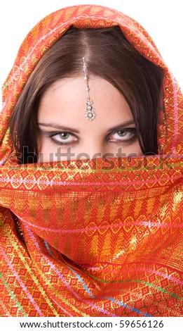 Portrait of indian woman in studio - stock photo