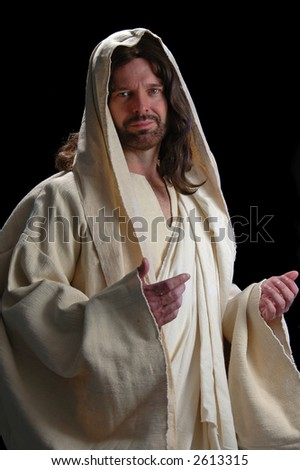 Portrait of Jesus with gentle look on dark background