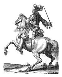 Portrait of Julius Frans of Saxe-Lauenburg, on horseback with a sword in his hand. At the bottom in the margin are name and function in Latin.
