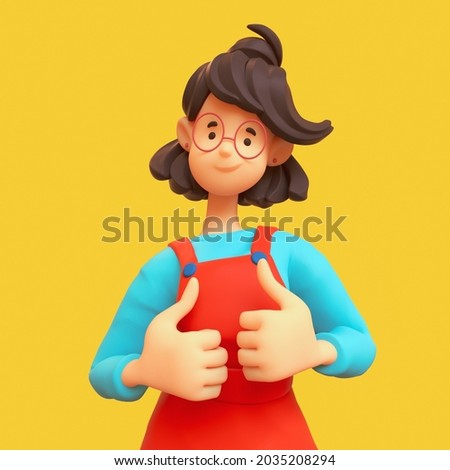Portrait of kawaii asian casual brunette girl in glasses wearing red apron, blue t-shirt showing thumb up, positive hand gesture, good job, respect. Minimal stylized art. 3d render on yellow backdrop