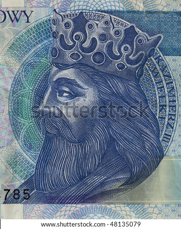 portrait of King Kazimierz (Casimir) III The Great (14th century), one of the greatest Polish monarchs, a detail of 50 zloty (PLN) used banknote from Poland
