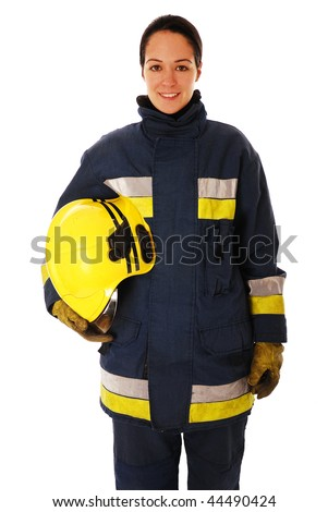 Portrait of lady firefighter isolated on white