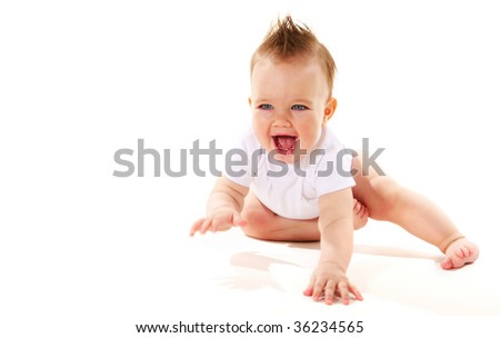portrait of laughing baby boy