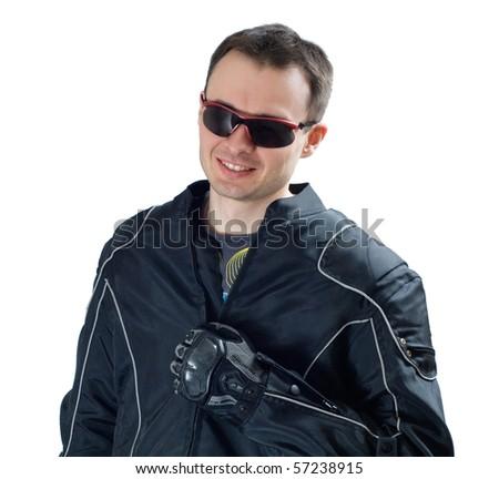 portrait of laughing biker. white background - stock photo