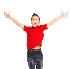 Portrait of  laughing happy boy jumping with raised hands up - isolated on white background