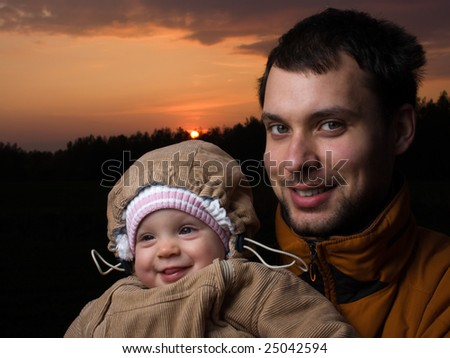 Portrait of little baby with her dad