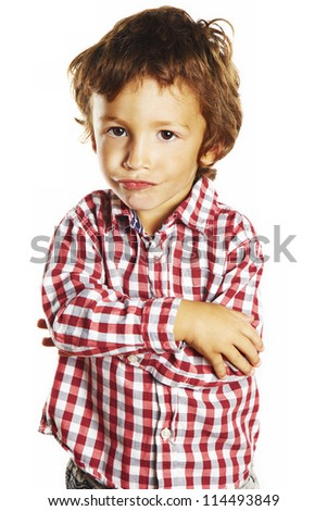 portrait of little boy isolated on white background
