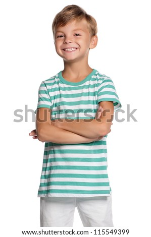 Portrait of little boy with hands folded isolated on white background
