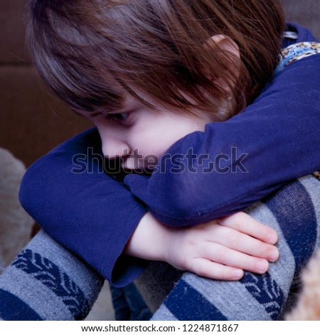 Portrait of little cute child girl expressing sadness (Gestures, body language, facial expressions, depression, crisis concept) #1224871867
