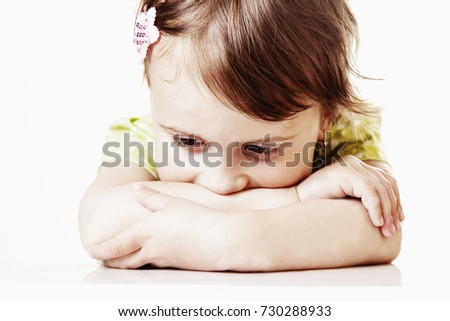 Portrait of little cute child girl expressing sadness (Gestures, body language, facial expressions, depression, crisis concept) #730288933