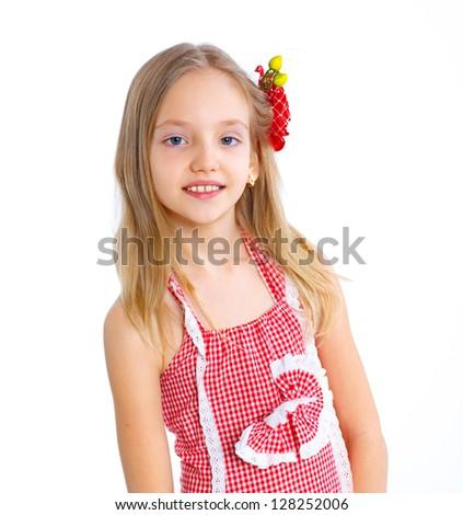 Portrait of little fashion girl. Isolated white backround.