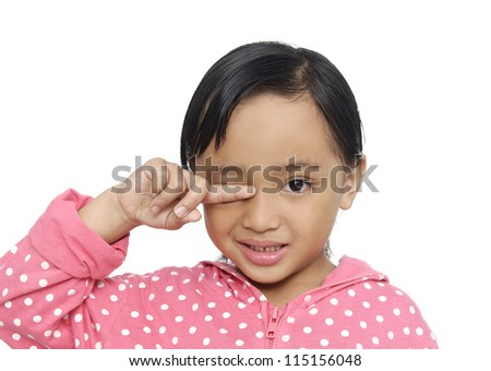 Portrait of little girl crying. Isolated