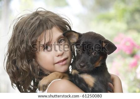 Portrait of little girl having good time in summer environment