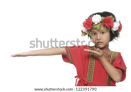 Portrait of little girl in traditional dress face posing
