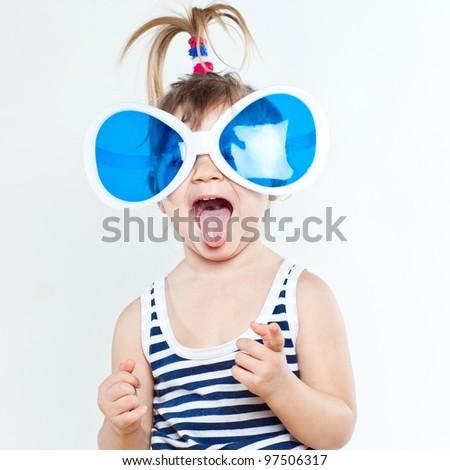 Portrait of little  girl sea theme - stock photo