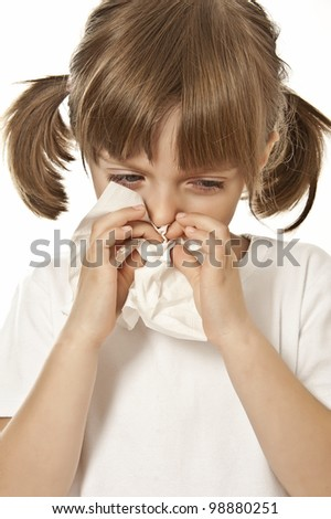 portrait of little girl with handkerchief  - allergy