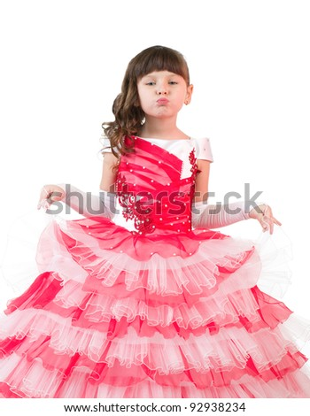 Portrait of little girl with in beautiful dress on white background.