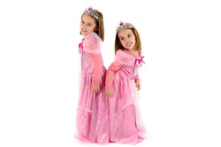 Portrait of Little identical twins Girls dressed as princess in pink. Happy children ready for costume party. Cute smiling joyful twins are wearing royalty costume of princess or queen.