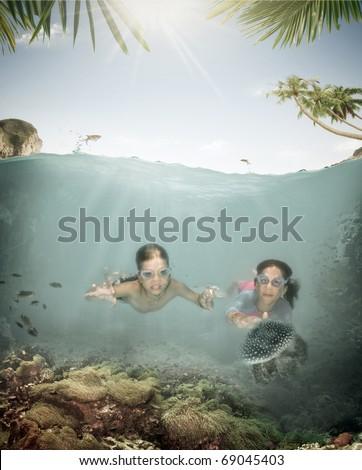 Portrait of little kids having good time in summer environment - stock photo