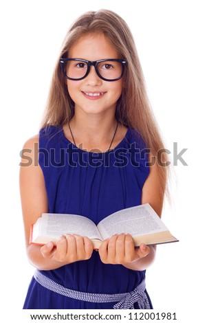 Portrait of little teacher posing in studio with book
