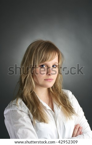Portrait of long hair attractive young woman