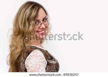portrait of lovely attractive girl in glasses