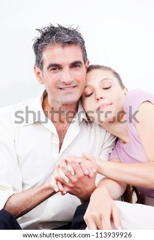 Portrait of lovely couple holding hands.