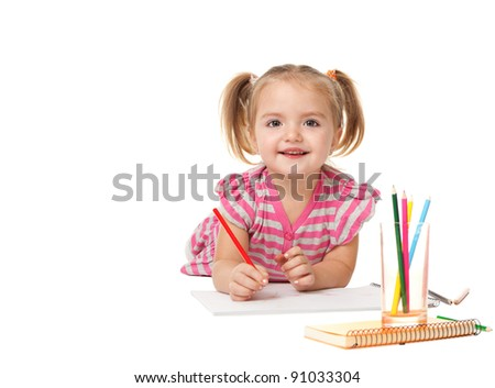 Portrait of lovely girl holding a pencil? drawing in copybook and looking at camera. shooting in the studio  on white background.