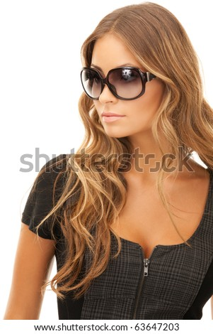portrait of lovely woman in shades over white