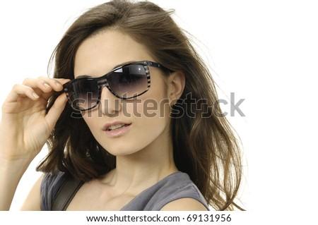 portrait of lovely woman in sunglass