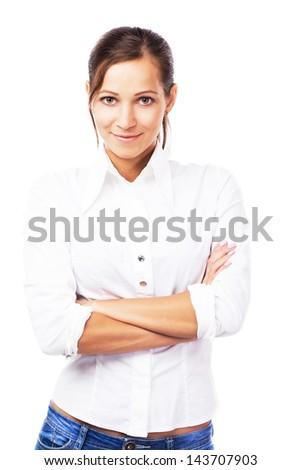 Portrait of lovely woman in white shirt