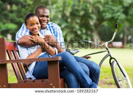 portrait of loving afro american couple outdoors