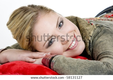 portrait of lying down woman