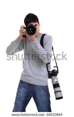 Portrait of male photographer with two professional cameras isolated on white background